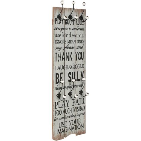 Wall-mounted Coat Rack with 6 Hooks 120x40 cm THANK YOU