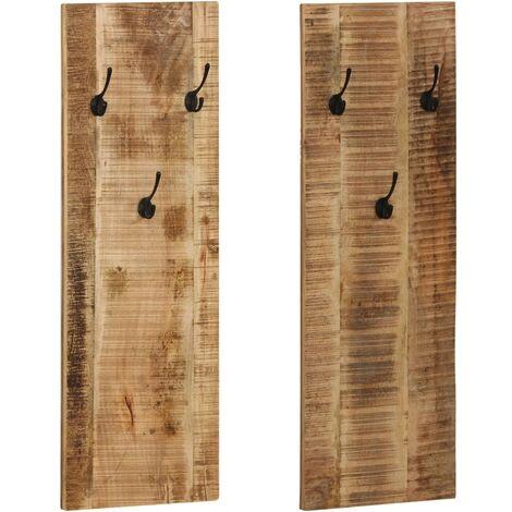 Wall-mounted Coat Racks 2 pcs Solid Mango Wood 36x110x3 cm