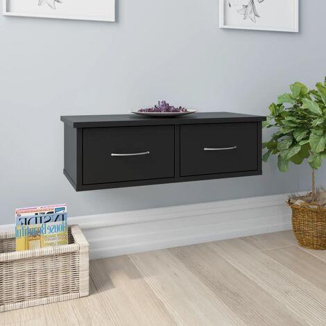 Wall-mounted Drawer Shelf Black 60x26x18.5 cm Chipboard