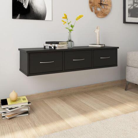 Wall-mounted Drawer Shelf Black 90x26x18.5 cm Chipboard