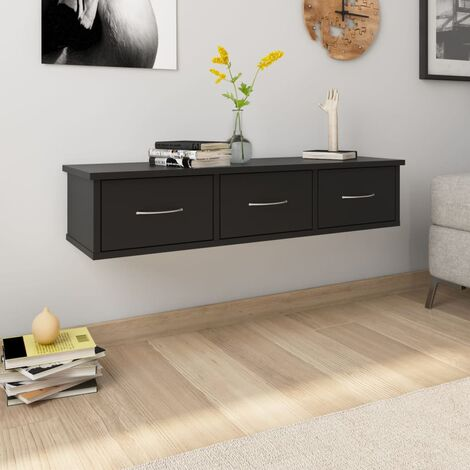 Wall-mounted Drawer Shelf Black 90x26x18.5 cm Chipboard