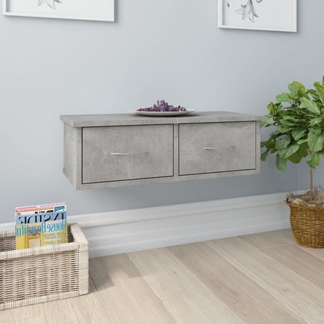 Wall-mounted Drawer Shelf Concrete Grey 60x26x18.5 cm Chipboard