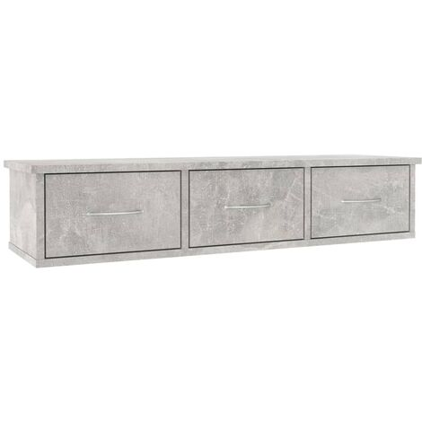Wall-mounted Drawer Shelf Concrete Grey 90x26x18.5 cm Chipboard