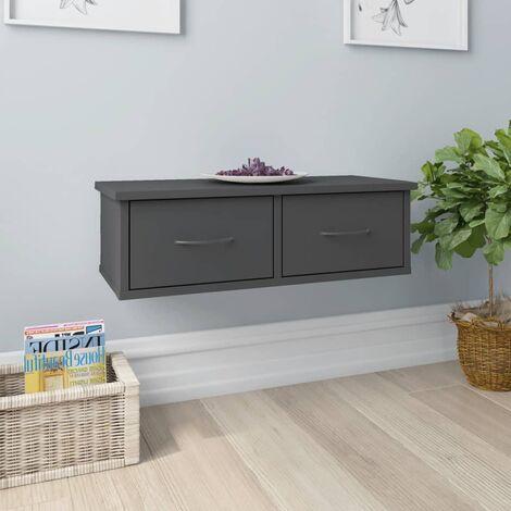 Wall-mounted Drawer Shelf Grey 60x26x18.5 cm Chipboard