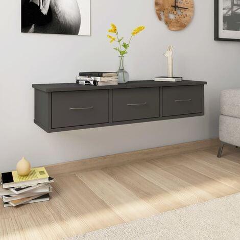 Wall-mounted Drawer Shelf Grey 88x26x18.5 cm Chipboard - Grey