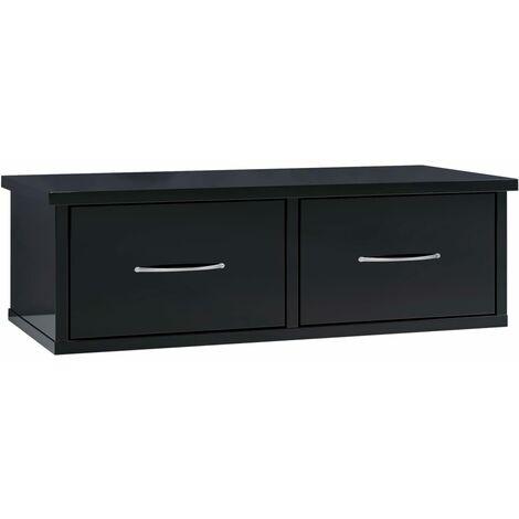 Wall-mounted Drawer Shelf High Gloss Black 60x26x18.5 cm Chipboard