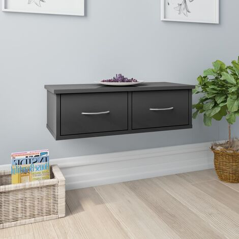 Wall-mounted Drawer Shelf High Gloss Grey 60x26x18.5 cm Chipboard