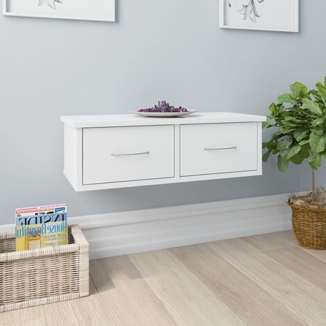 Wall-mounted Drawer Shelf High Gloss White 60x26x18.5 cm Chipboard