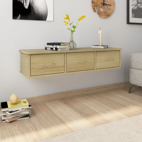 Wall-mounted Drawer Shelf Sonoma Oak 88x26x18.5 cm Chipboard - Brown