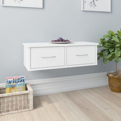 "main image of ""Wall-mounted Drawer Shelf White 60x26x18.5 cm Chipboard - White"""