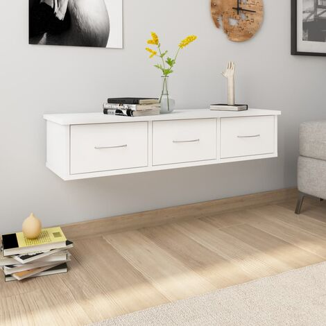 Wall-mounted Drawer Shelf White 90x26x18.5 cm Chipboard