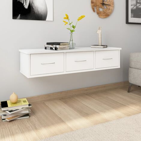 Wall-mounted Drawer Shelf White 90x26x18.5 cm Chipboard