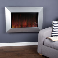 Wall Mounted Electric Fire with Optiflame Effect � 420 Watt � Silver Satin Effect