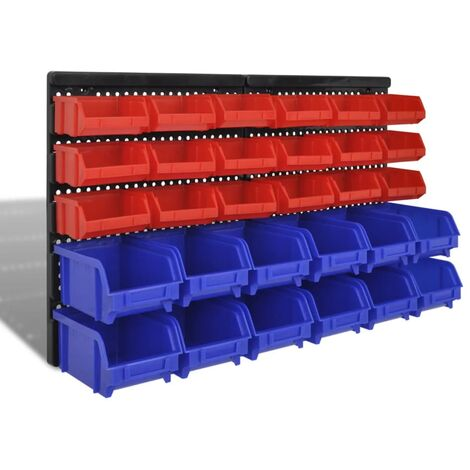 Wall Mounted Garage Plastic Storage Bin Set 30 pcs Blue & Red