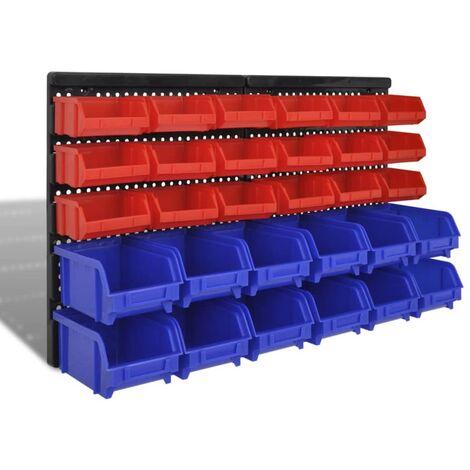 Wall Mounted Garage Plastic Storage Bin Set 30 pcs Blue & Red - Red