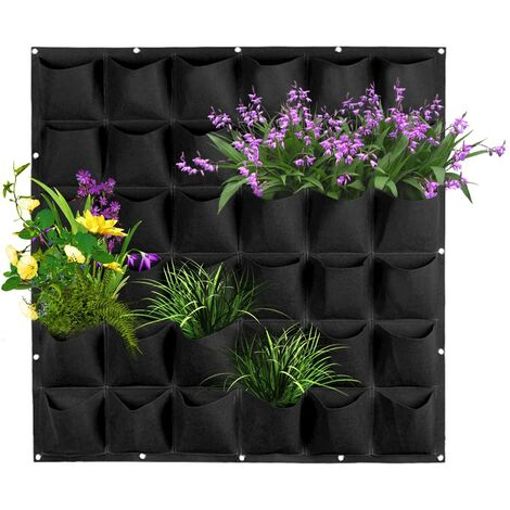 """main image of """"Wall Mounted Growing Bags Indoor Growing Stand for Outdoor Plants, 36 Pockets Vertical Planter for Leguminous Plants (Black)"""""""
