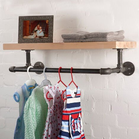 "main image of ""Wall Mounted Hanging Clothes Rack Bathroom Shelf"""