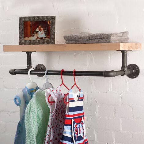 Wall Mounted Hanging Clothes Rack Bathroom Shelf