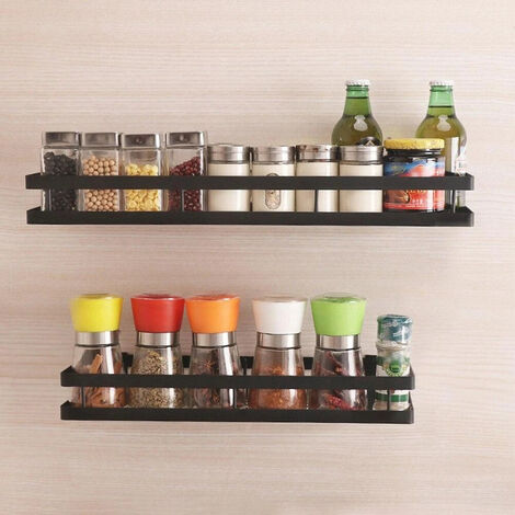 Wall Mounted Herb Spice Jar Holder Metal Storage Rack 20-50cm Kitchen Organizer