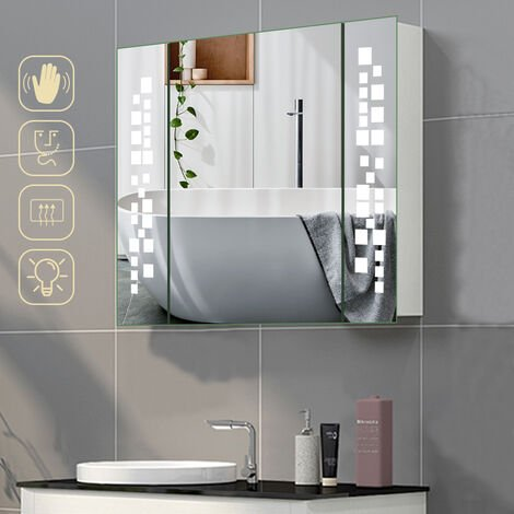 Wall Mounted LED Illuminated Bathroom Mirror Cabinet with with Shaver Socket, CE Driver and Touch Control Switch 640x600MM