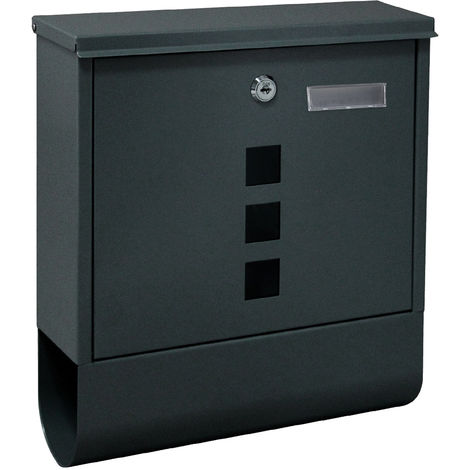 Wall-mounted Letterbox Lockable Anthracite-coloured Postbox with Newspaper Holder and 2 Keys