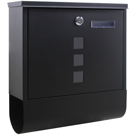 Wall-mounted Letterbox Lockable Black Powder-coated Postbox with Newspaper Holder and 2 Keys