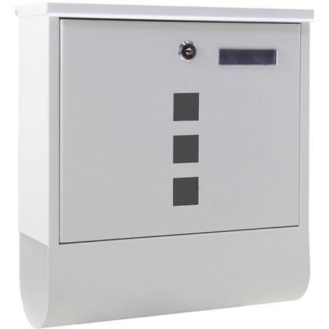 Wall-mounted Letterbox Lockable White Powder-coated Postbox with Newspaper Holder and 2 Keys