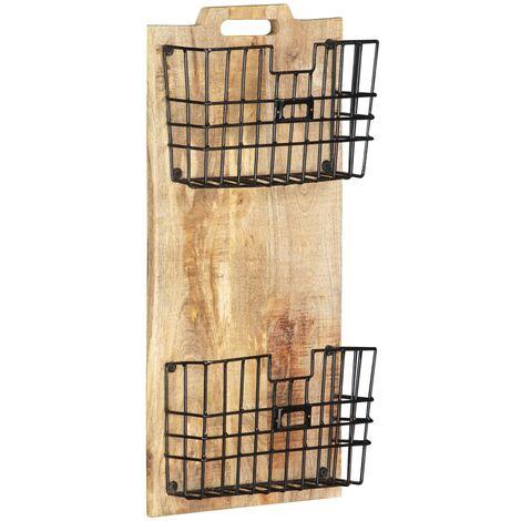 Wall-mounted Magazine Rack 33x10x67 cm Solid Rough Mango Wood