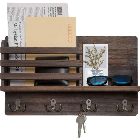 """main image of """"Wall Mounted Mail Holder Wooden Mail Sorter Organizer with 4 Double Key Hooks and A Floating Shelf Rustic Home Decor for Entryway or Mudroom,16.3"""" W x10 """"Hx3.2 """"D, Brown"""""""