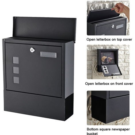 Wall-mounted mailbox with protective flap Letterbox A4 format Mailbox for newspapers Mailbox for letters, newspapers and magazines, with safety lock and fixing material
