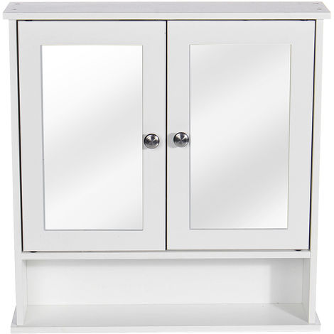 """main image of """"Wall Mounted Mirror Cabinet Double Doors Wood Storage Cupboard 58X13X56CM White"""""""