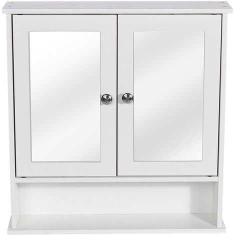 Wall Mounted Mirror Cabinet Double Doors Wood Storage Cupboard 58X13X56CM White
