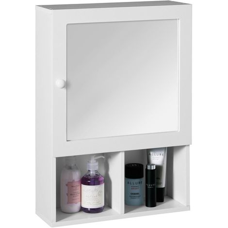 Wall Mounted Mirrored Cabinet White Wood Bathroom Toiletries