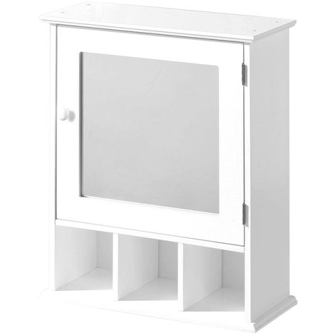 Wall Mounted Mirrored Furniture Unit In White-Storage For Toiletries