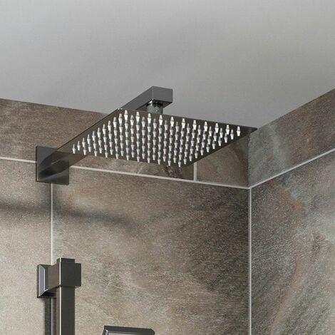 Wall Mounted Modern Slimline 200mm Chrome Square Rainfall Fixed Shower Arm Head