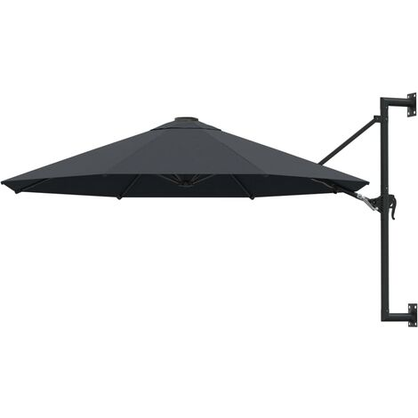 Wall-Mounted Parasol with Metal Pole 300 cm Anthracite