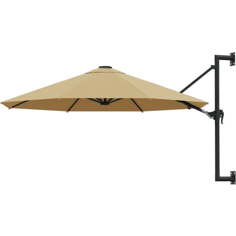 Wall-Mounted Parasol with Metal Pole 300 cm Taupe