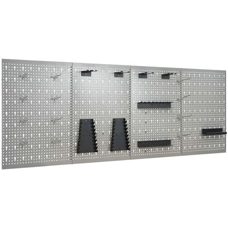Wall-mounted Peg Boards 4 pcs 40x58 cm Steel