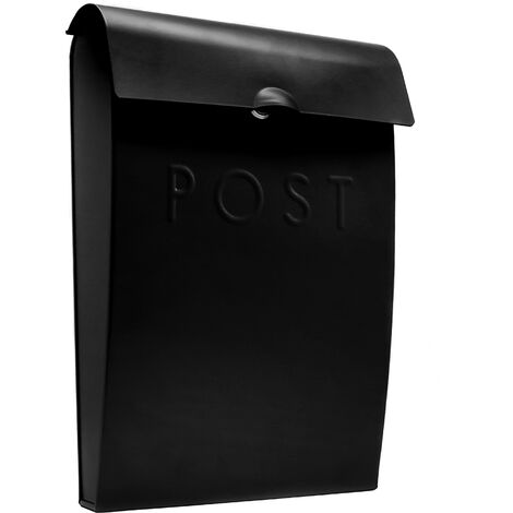 """main image of """"Wall Mounted Post Box in Black   M&W - Black"""""""