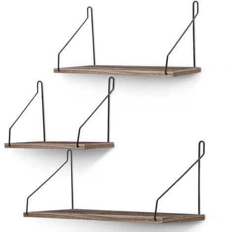Wall Mounted Rustic Wood Wall Shelves 3pcs Wood Storage Shelves