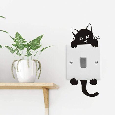 Wall-mounted sticker Cute fan cat dog sticker Waterproof Light switch DIY Removable Sticker Switch Switch Wall Stickers for Kids Room (6pcs)