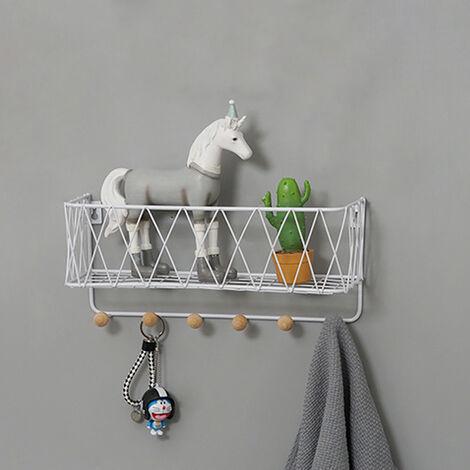 Wall Mounted Storage Rack Holder Shelf with Wood Key Hooks