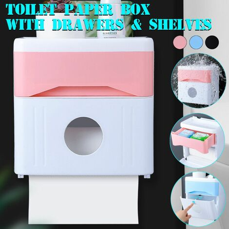 Wall Mounted Toilet Tissue Box Leakproof Snap-Open Box with Drawers and Shelves Bathroom (Pink)
