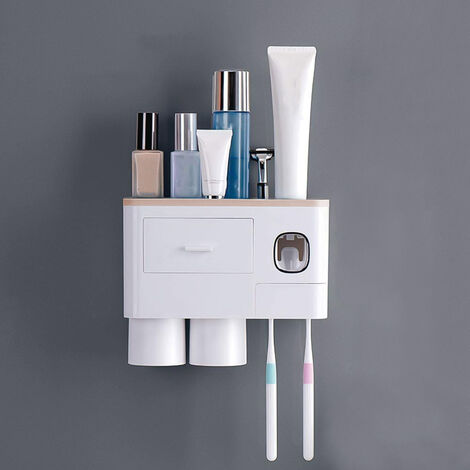 """main image of """"Wall Mounted Toothbrush Holder with Toothbrush Dispenser Drilling Free Space-Saving Toothpaste Squeezer Kit with Cups Magnetic Toothbrush Holder Bathroom Washroom Organizer for Home Commercial Use"""""""