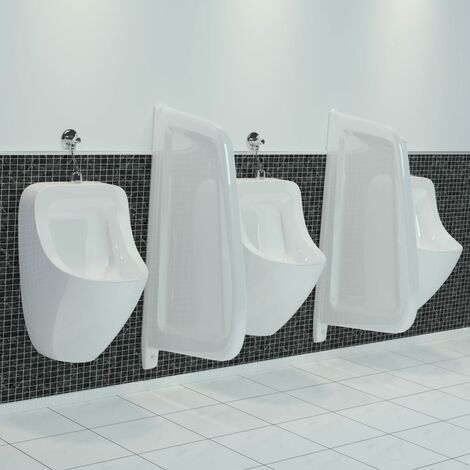 Wall-mounted Urinal Privacy Screen Ceramic White - White