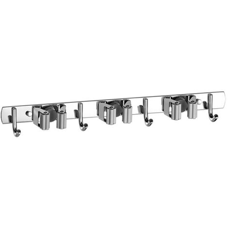 Wall-mounted wall mount for garden tools - 3 racks and 4 hooks to hang the brooms for kitchen cabinet or garage (gray)