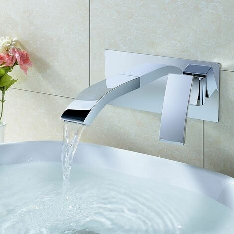 Wall Mounted Waterfall Basin Sink Tap Bathroom Faucet Mixer Lever