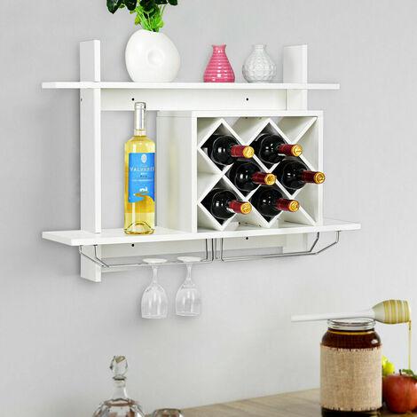 Wall Mounted Wine Rack Organizer Bottle Glass Holder Bar Storage Display Shelf