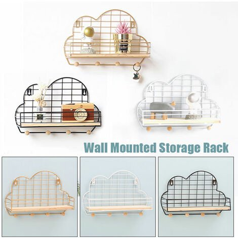 """main image of """"Wall Mounted Wire Shelf Unit Floating Bathroom Kitchen Cloud Style Storage Rack(Black)"""""""