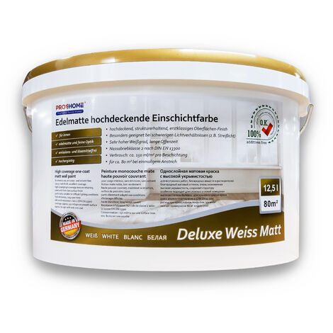 Wall paint PROFHOME high coverage one-coat paint for interior walls ceilings white matt 12.5 ltr for 80 sqm